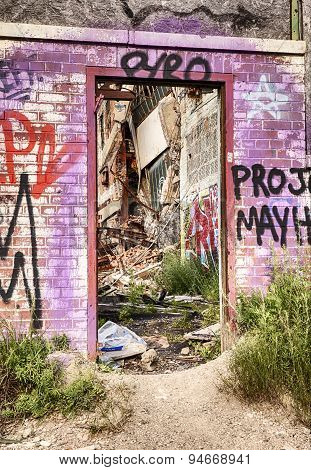 Door Into Detroit Factory Ruins