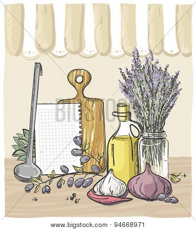 Rural chalkboard menu graphic design with vegetables, kitchen utensil and bouquet of lavender, eps10----