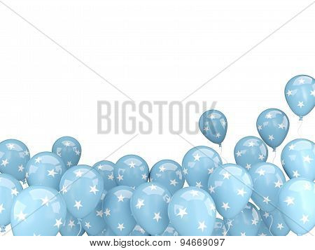 Flying Balloons With Flag Of Micronesia