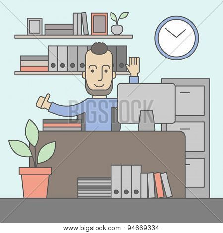 The man with a beard in glasses working on his desk at the office. Successful working concept. Vector flat design Illustration.