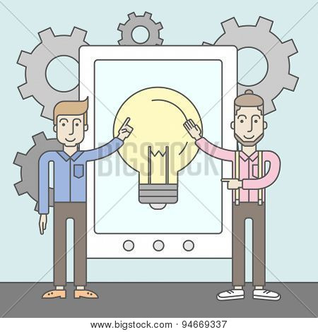 Two young men with beards pointing to the tablet with the bulb icon. Idea concept for mobile devices. Vector flat design Illustration.