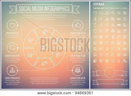 Social Media infographic template and elements. The template includes the following set of icons - television, filmstrip, gear, megaphone, social network, downloading and more. Modern minimalistic