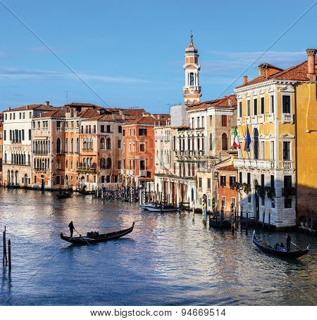 View Of Canal Grande In Venice, Italy As Seen From Rialto Bridge