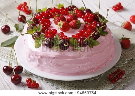 Homemade Cake With Fresh Berries On A Plate Close-up. Horizontal