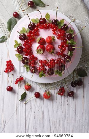 Beautiful Cake With Fresh Berries Vertical Top View