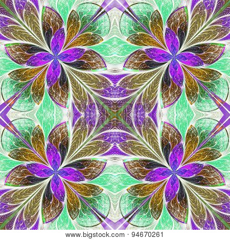 Multicolored Symmetrical Pattern In Stained-glass Window Style On Light. Computer Generated Graphics