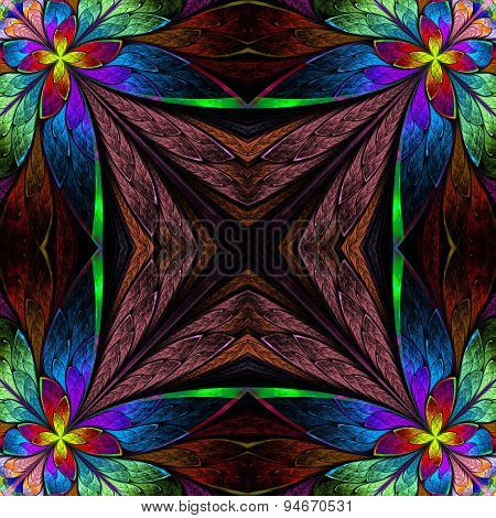 Symmetrical Multicolored Flower Pattern In Stained-glass Window Style On Purple.  Computer Generated