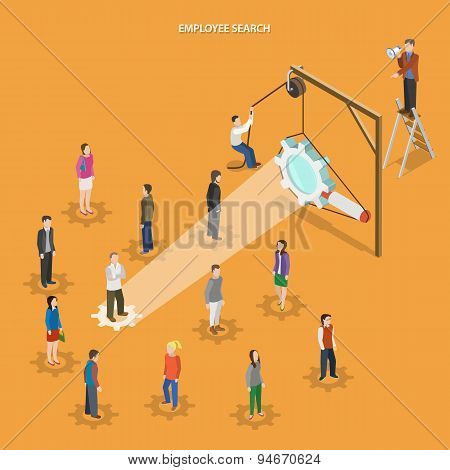 Employee search flat isometric vector concept.