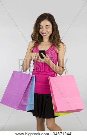 Shopping Woman Browsing On Smart Phone