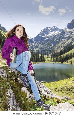 Hiker Woman During A Break