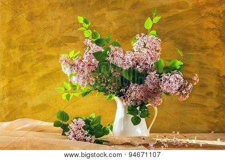 Still Life Bouquet Lilacs Flowers Bloom
