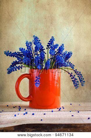 Still Life Bouquet Spring Flowers Blue
