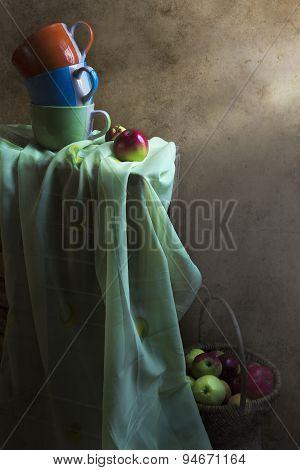 Still Life Cups Basket Apples