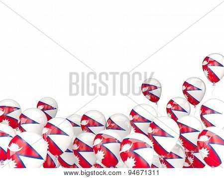 Flying Balloons With Flag Of Nepal