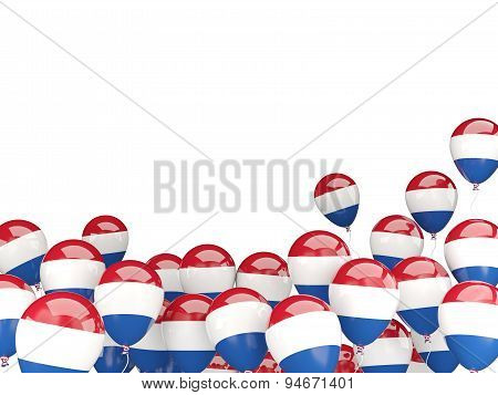 Flying Balloons With Flag Of Netherlands
