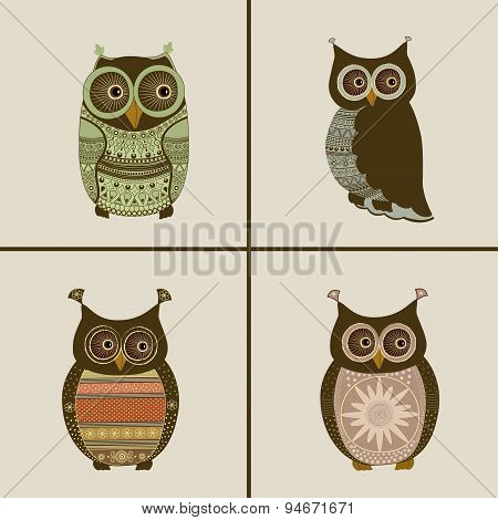 Four Stylized Owls Ornaments