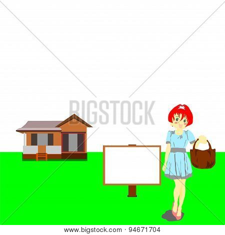 House with  billboard and woman