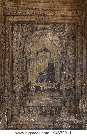 Bagan, Myanmar - Decembe 4, 2010: Mural Painting Of Buddha In Phaya-thone-zu Stupa , Myanmar.