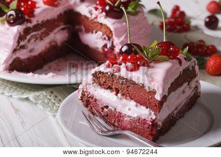 Slice Of Homemade Berry Cake With Pink Cream Horizontal