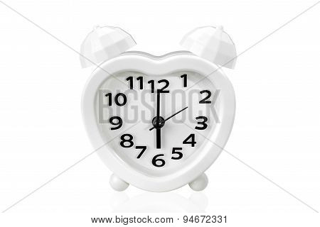 Alarm Clock On White Isolated Background With Clipping Path.