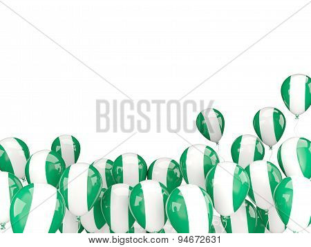 Flying Balloons With Flag Of Nigeria
