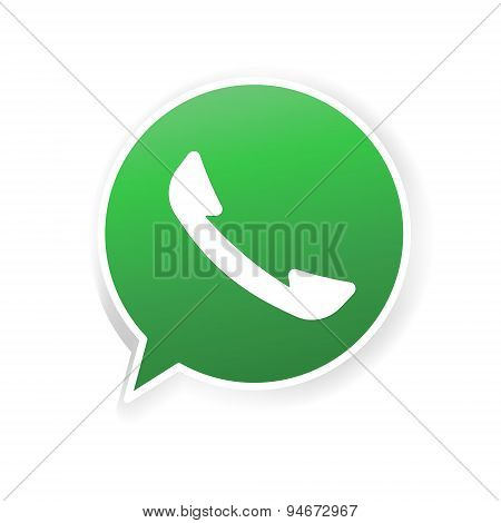 Green phone handset in bubble icon.