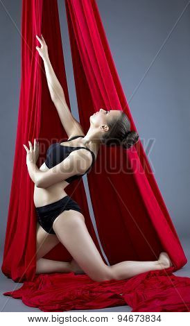 Shot of cute female dancer posing on aerial silks