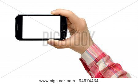 College girl holding smartphone - isolated on white background