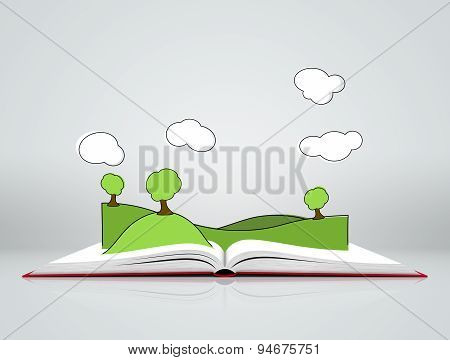 Landscape with hills and tree on open book