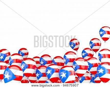 Flying Balloons With Flag Of Puerto Rico