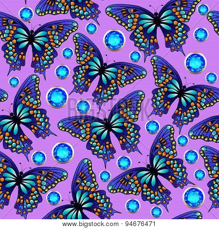 seamless background with butterflies and jewels