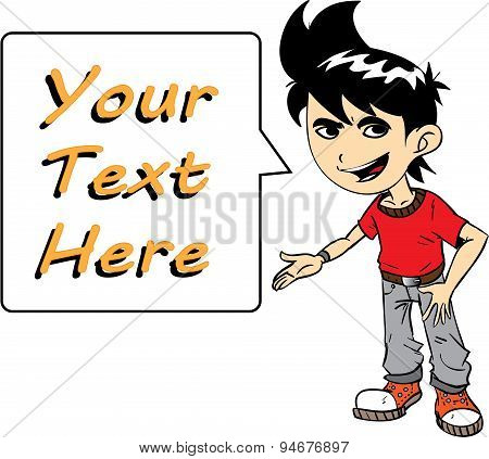 Boy With Text