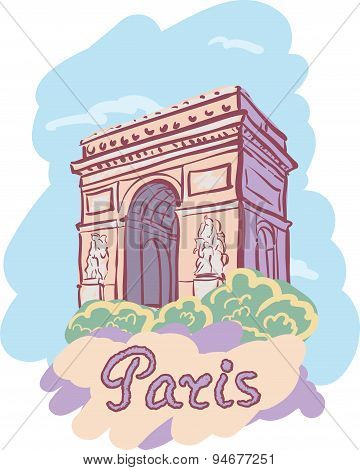 Vector Illustration With The Sights Of Paris. Arc De Triomphe