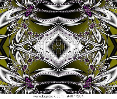 Flower Pattern In Fractal Design. Artwork For Creative Design