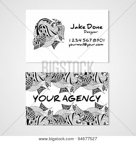 Business card template whit hand drawn ornament.