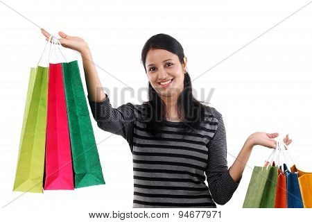 Young Happy Smiling Woman With Shopping Bags