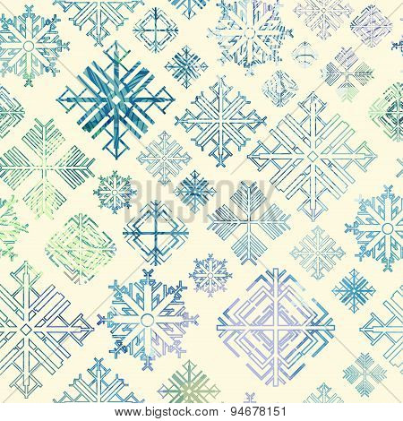 Seamless Snowflake Winter Watercolor Christmas Background