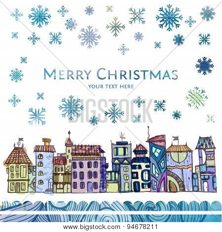 Decorative Sketch Of City. Winter Christmas Background