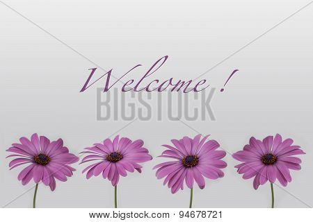 welcome text with flower decoration