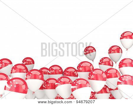 Flying Balloons With Flag Of Singapore