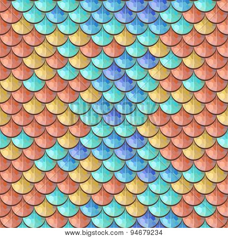 Seamless colorful river fish scales