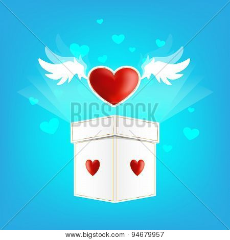 Beautiful Heart On The Wings Of Love With Box