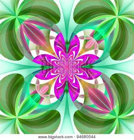 Symmetrical Pattern Of The Flower Petals. Green And Purple Palette. Computer Graphics.
