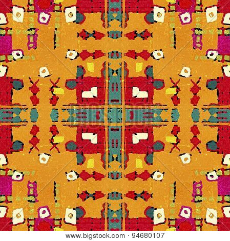 Multicolored Tribal Geometric Seamless Pattern