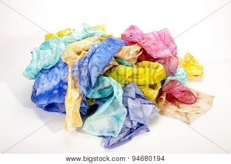 Collection Of Crumpled Multicolored Habotai Silk Scarves