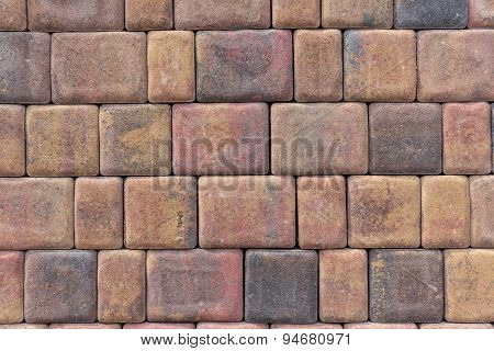 tiled stone wall - red brick back