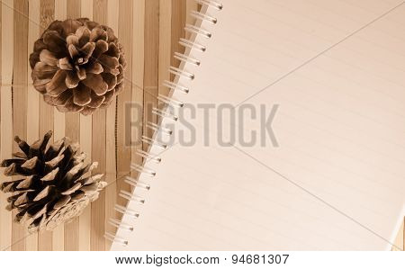 Blank Notepad Notebook On Brown Bamboo Background