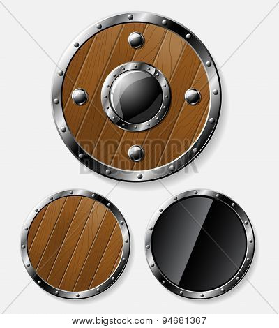 Set of round shields isolated on grey