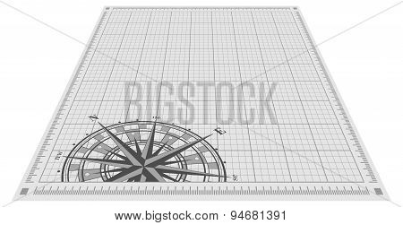 Compass rose silhouette over blueprint background