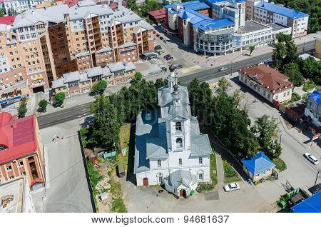 Aerial view on Archangel Michael Church. Tyumen
